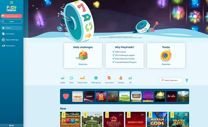 Casinospel Android iPhone PlayFrank design