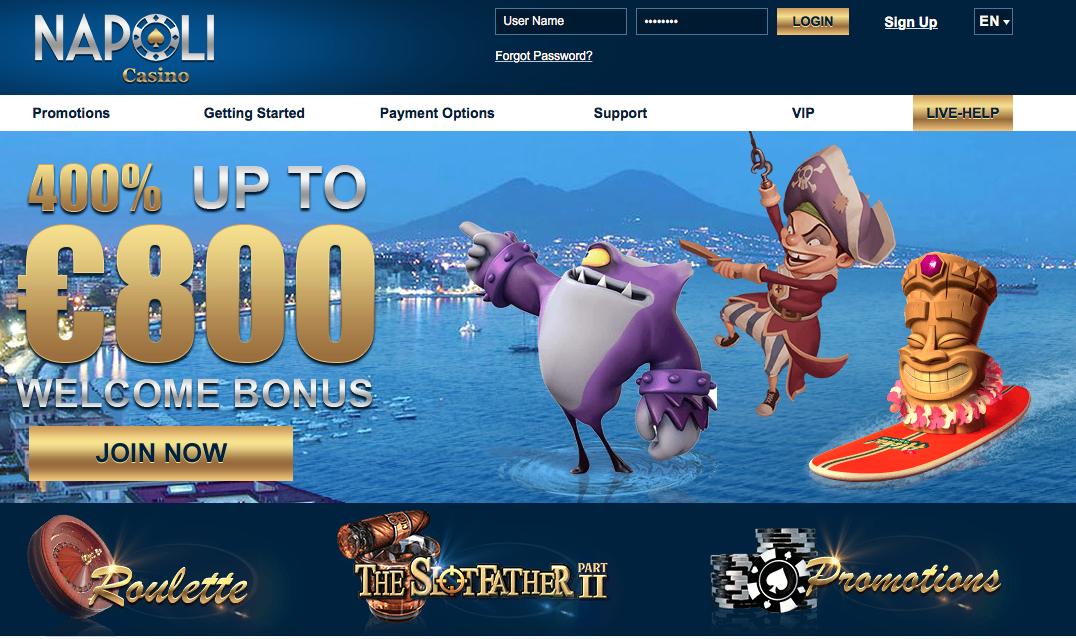 Welcome bonus casino Napoli mjukvara