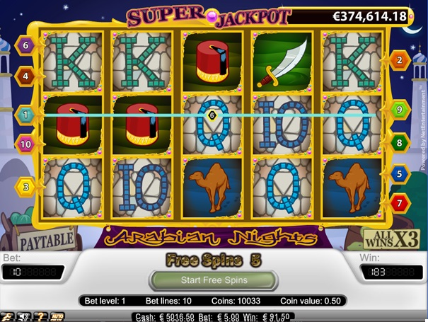 Arabian Nights freespins microgaming